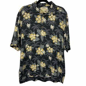 Tommy Bahama Gray Floral Shirt Size L Large Silk C